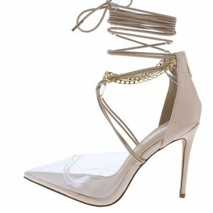 Nude and clear pointy toe pumps by Cape robbin.